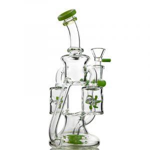Green Purple Glass Bongs Double Prop