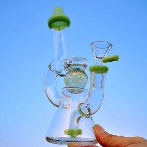 Purple Green Showerhead Perc Glass Bong