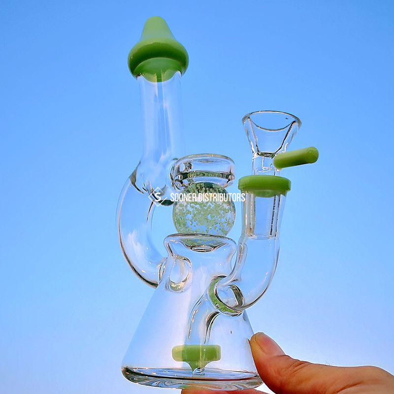 Purple Green Showerhead Perc Glass Bong